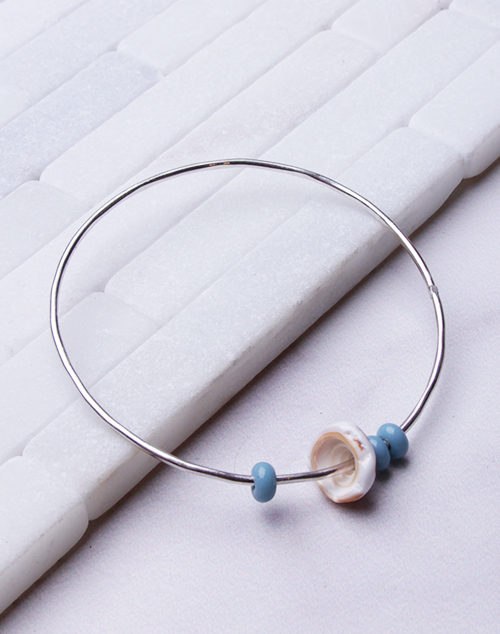 Blue Glass Bead Bangle - Sterling Silver