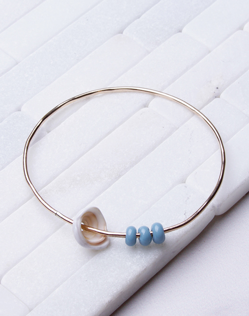 Blue Glass Bead Bangle 14K Filled