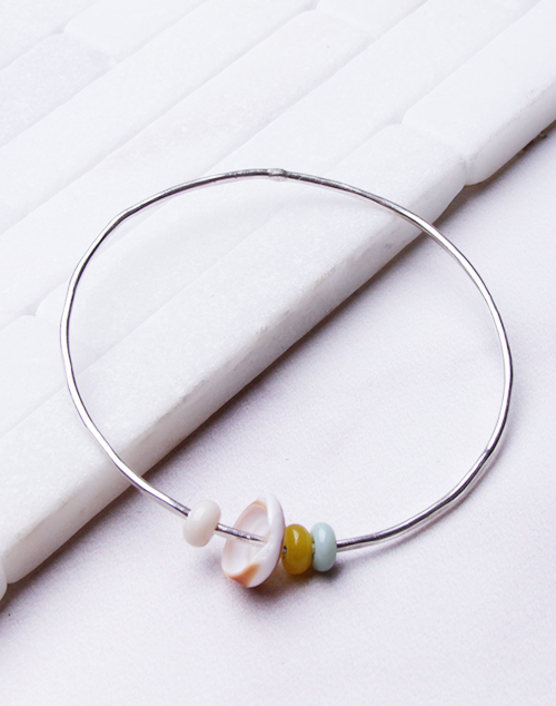 Green, Cream, Yellow Bangle - Sterling Silver