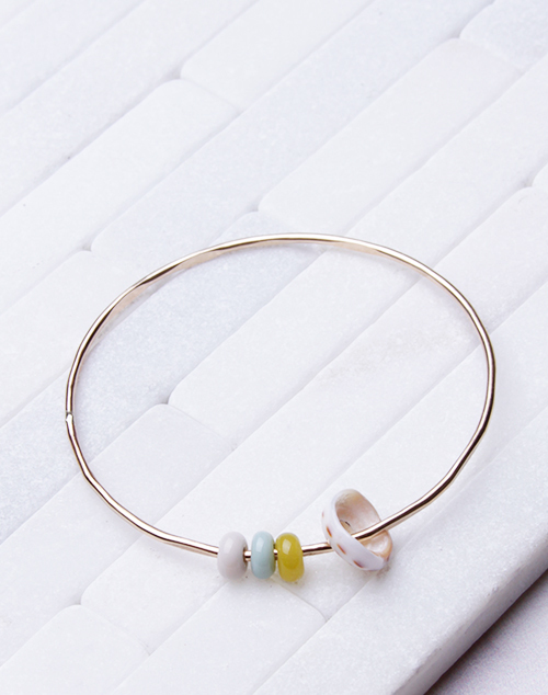 Green, Cream, Yellow Bangle - 14K Filled