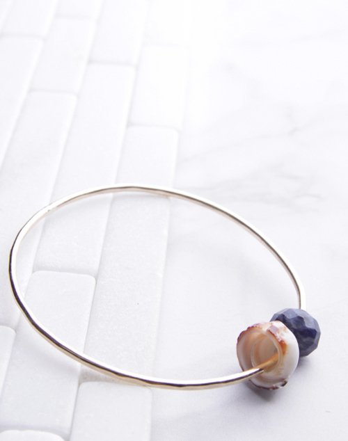 Tiger Puka Shell Sodalite Bangle 14K Gold Filled