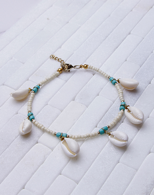 Ivory Bead Cowrie Shell Anklet
