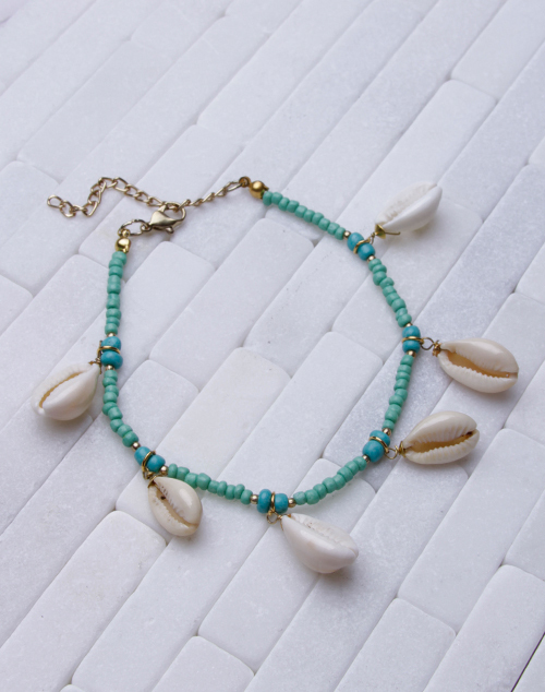 Turquoise/Wood Bead Cowrie Anklet