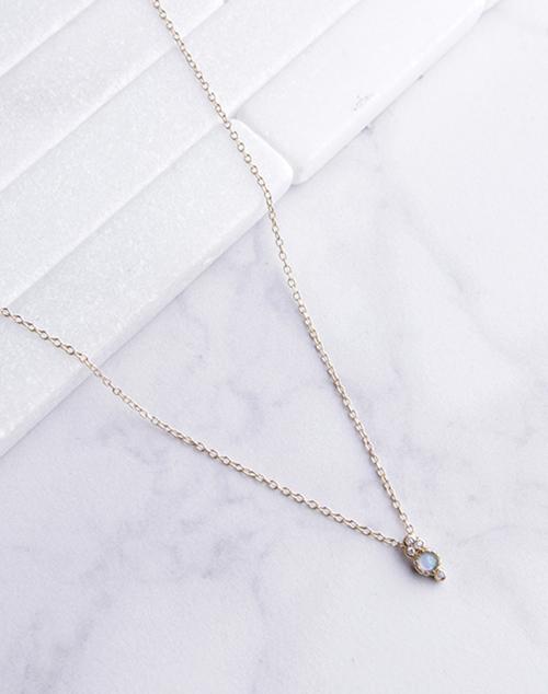 Small Opal CZ Drop Necklace