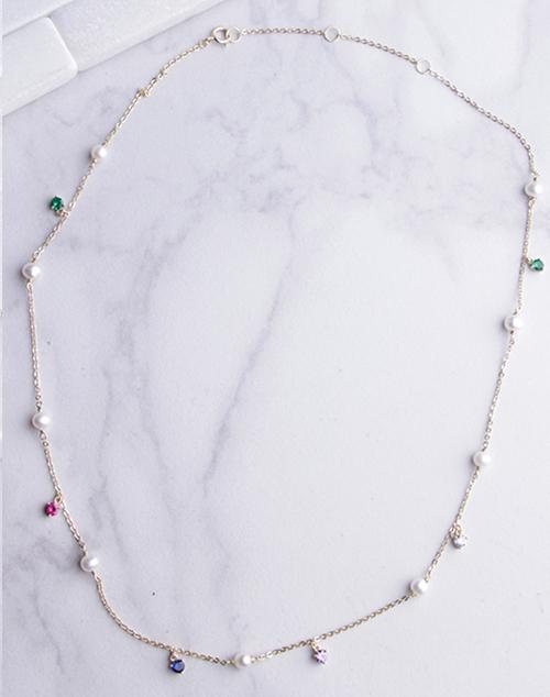 Pearl & Rainbow CZ Necklace