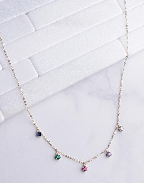 Rainbow CZ Drop Necklace