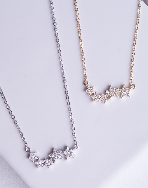 CZ Star Bar Necklace