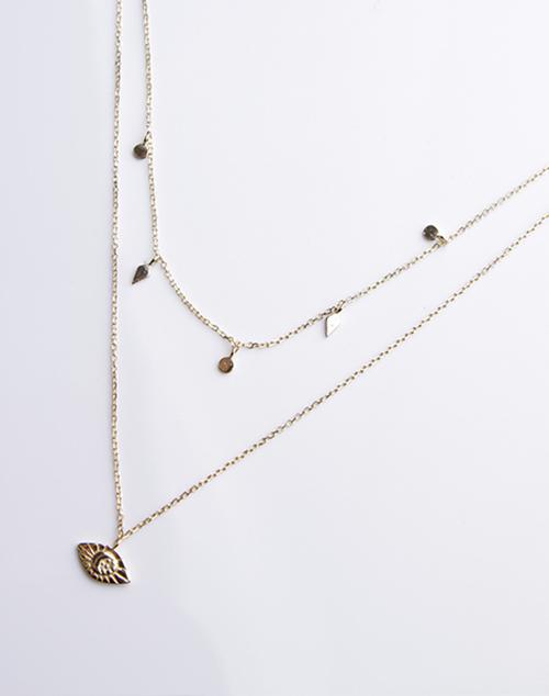 Layered Diamond Moon Necklace