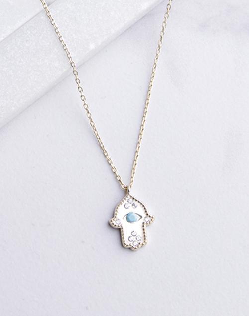 Turquoise Hamsa Hand Necklace