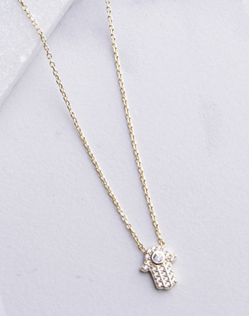 CZ Hamsa Hand Necklace