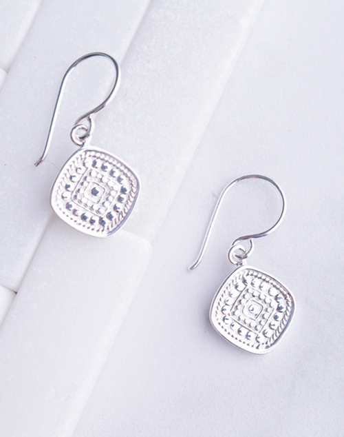 Anna Beck Cushion Drop Earring- Silver