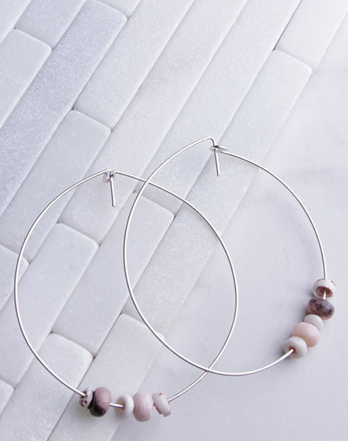 """Pink Opal Tiger Puka Shell 4"""" Hoops Sterling Silver"""