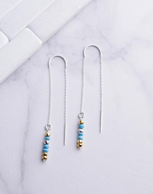 Pyrite & Turquoise Beaded Threader Earrings