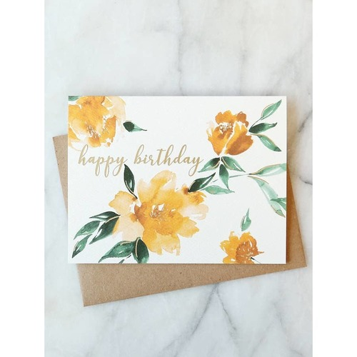Yellow Floral Birthday Card