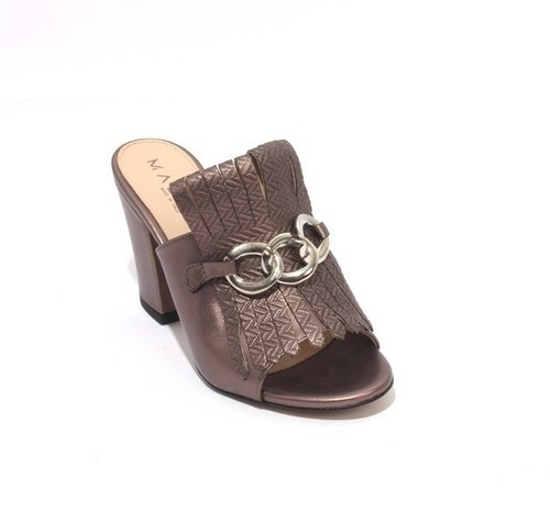 Bronze / Silver Leather Fringe Slides Heel Sandals
