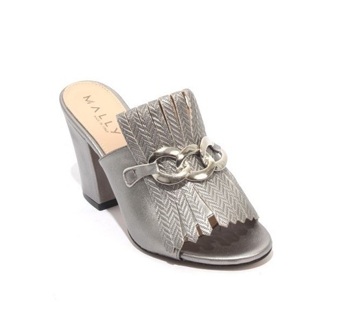 Silver / Gray Leather Fringe Slides Heel Sandals