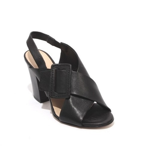 Black Leather Elastic Slingbacks Heel Sandals
