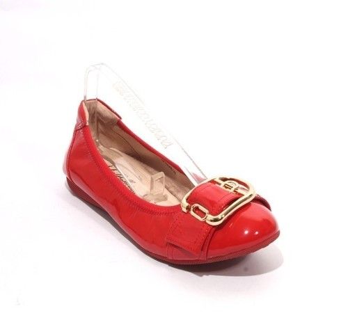 Red / Gold Patent Leather Buckle Comfort Ballet Flats