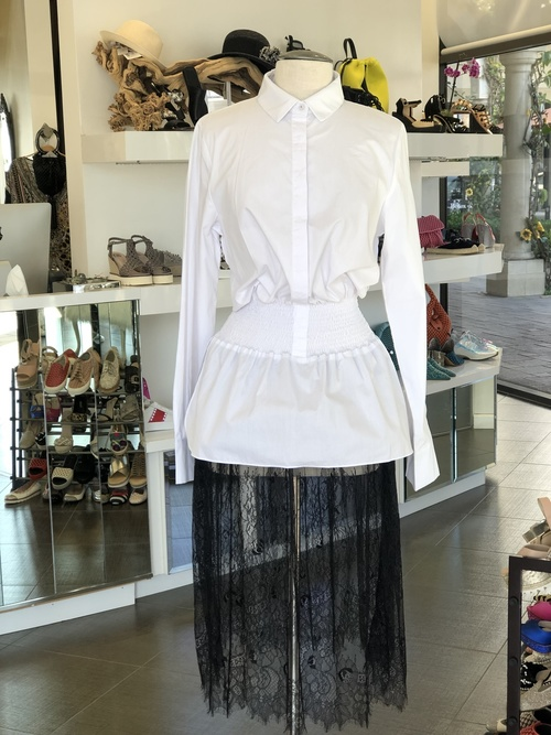 Monaco Shirt dress with sheer lace skirt