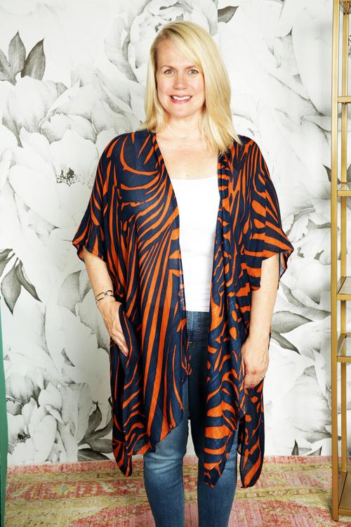 Zebra Print Split Front Kimono