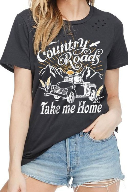 Country Roads Distressed Boyfriend Tee