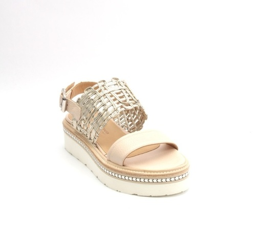 Beige / Gold Leather Platform Mesh Sandal