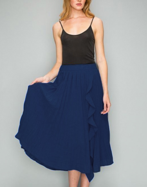 Pleated Ruffle Midi Skirt