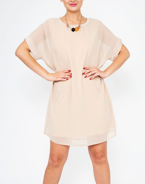 Chiffon Round Neckline Short Ribbed Top