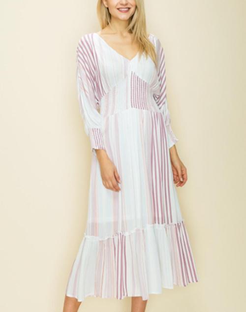 Vertical Multi Stripe Tassel Ruffle Midi Dress
