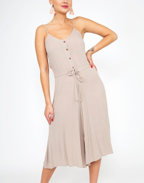 Solid Button Down Drawstring Cropped Jumpsuit