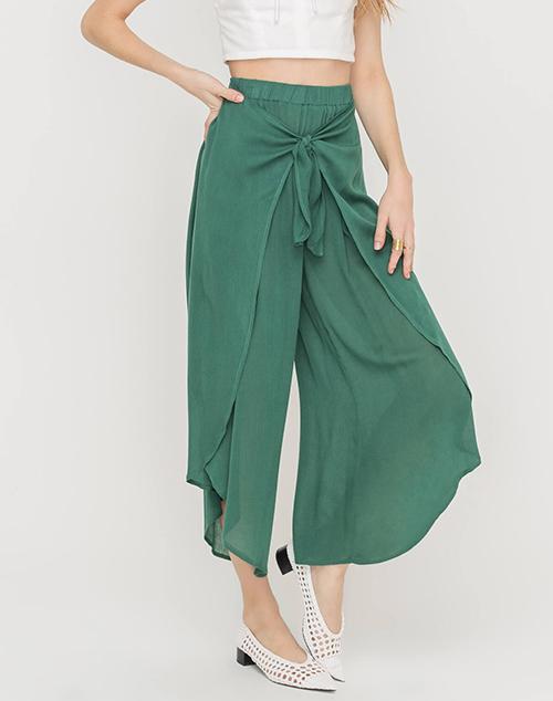 Wrap Tie Front Culotte Pants