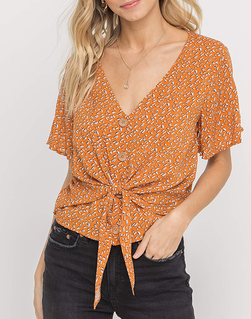 Tie Accent Buttoned Blouse