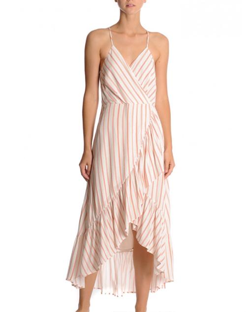 Strappy Wrap Midi Ruffle Dress