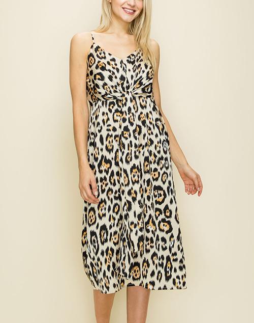Leopard Front Tie Spaghetti Strap Midi Dress