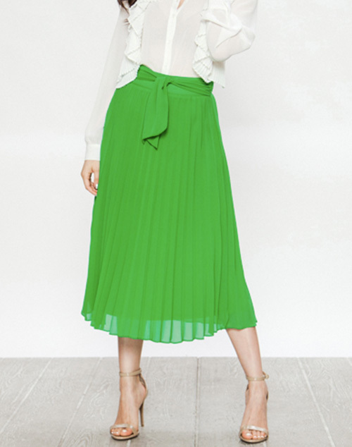 Pleated Midi Skirt With Front Tie