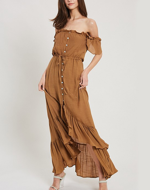 Off Shoulder Hi Low Maxi Dress