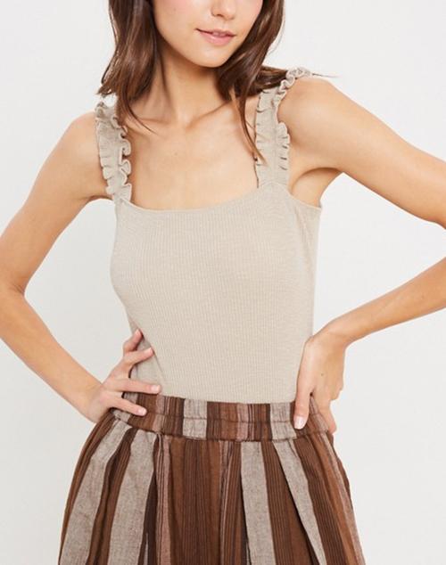 Ruffled Strap Ribbed Knit Bodysuit