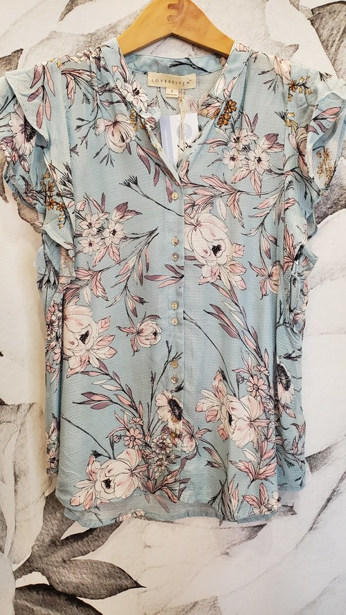 Double Flutter Sleeve Floral Top