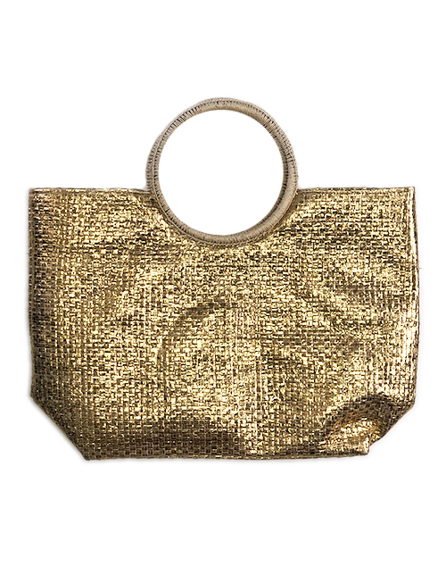 Woven Beach Bag - Gold