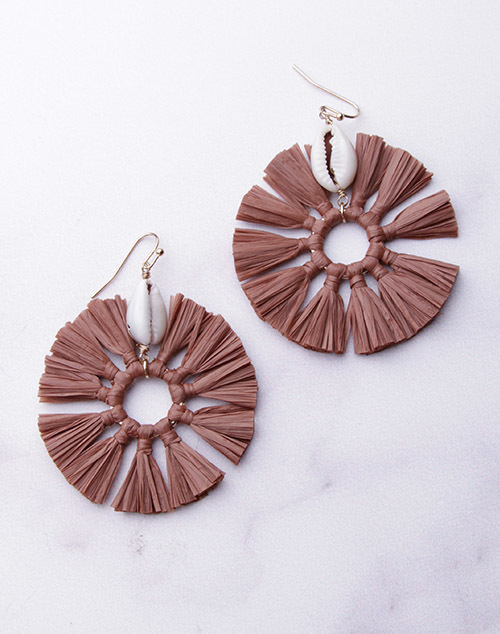Puka Shell With Fringe Dangles - Brown