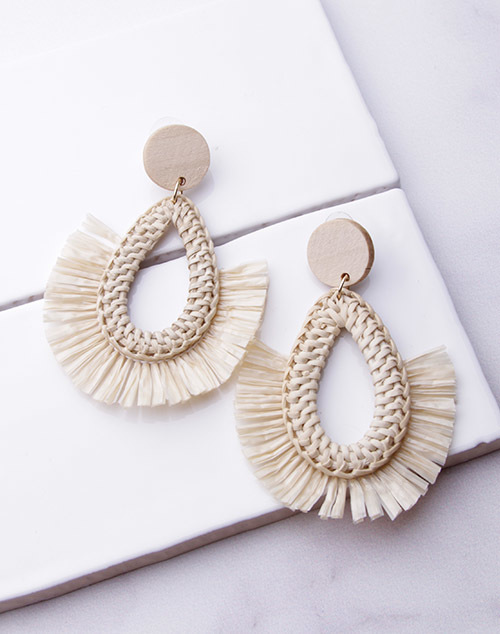 Rattan Teardrop Fringe Dangle