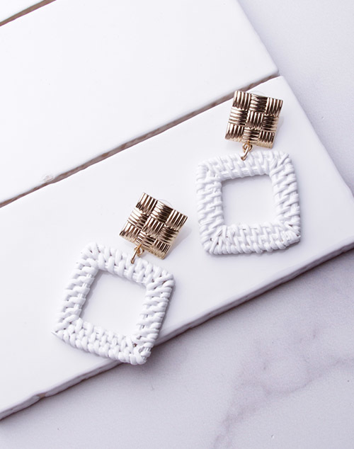 White Rattan Square Dangle