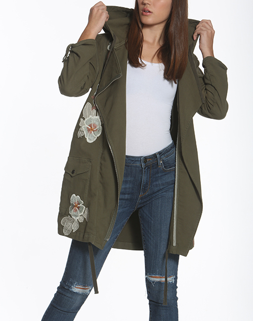 Branch Embroidered Parka Jacket