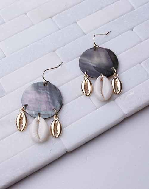 Abalone Cowry Shell Dangle Earring