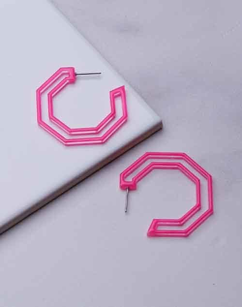 Geo Pink Painted Hoop