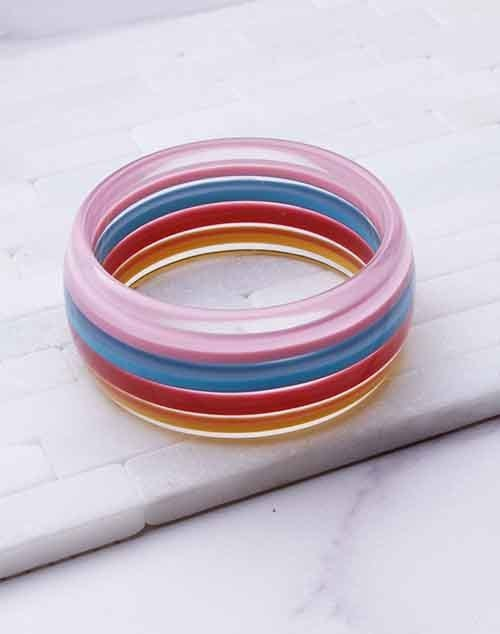Multi Colored Acrylic Wide Bangle