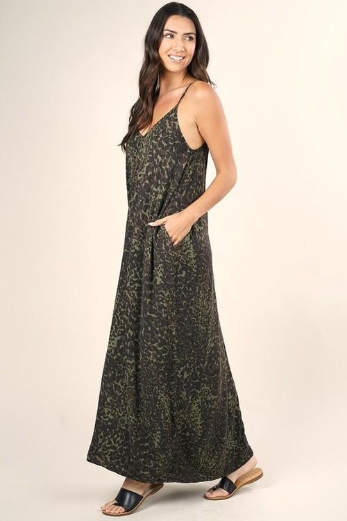 V-Neck Maxi Dress w/ Side Pockets