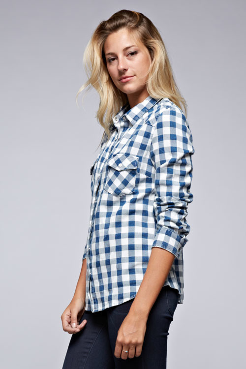 Washed Gingham Snap Front Top