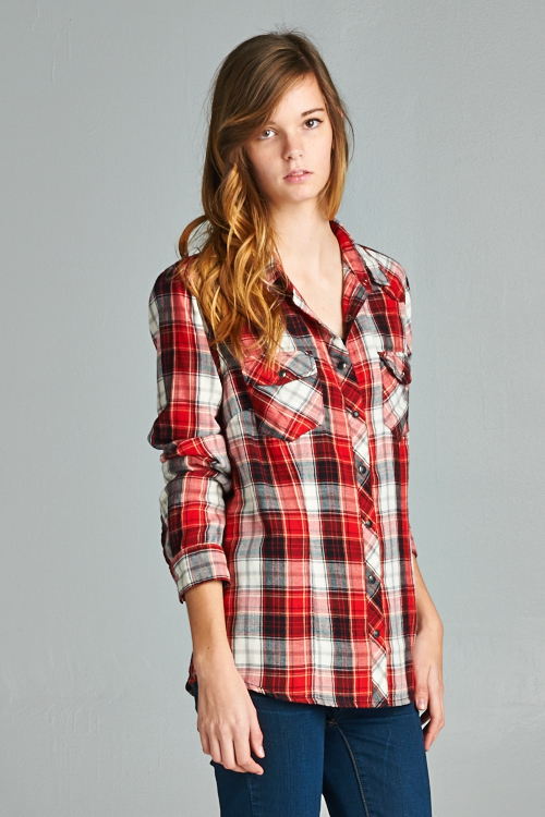 Metal Snap Double Pocket Plaid Top