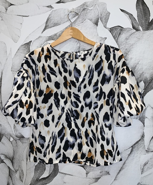 White Leopard Print Balloon Sleeve Top